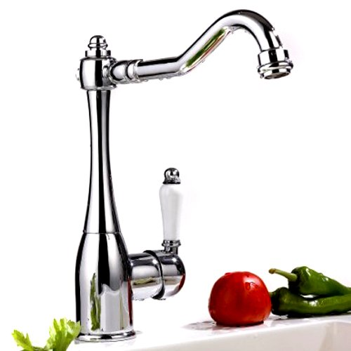 Traditional Single Handle High Rise Swivel Spout Kitchen Sink Faucet, Chrome