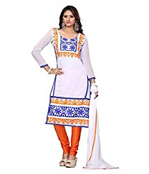 Fashion Hub Women's georgette Salwar Suit White (rk_084)