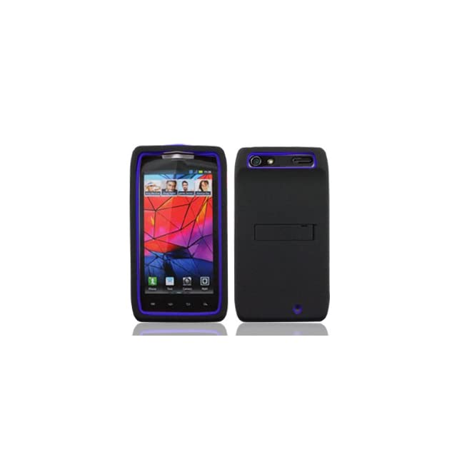 Motorola Droid RAZR XT912 XT 912 Fusion Hybrid 2 in 1 Combo Solid Blue Silicone Skin Gel with Black Hard Snap On Protective Cover Case with Kick Stand / Kickstand Cell Phone