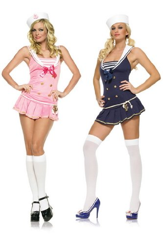 Sailor Girl Pinup Dress Sexy Adult Halloween Costume Skimpy Naughty Pin