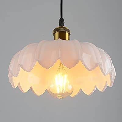 UZI-Lights North American style loft retro bucket creative lighting white glass dining room chandelier lamp chandelier Lotus led lights 260200mm