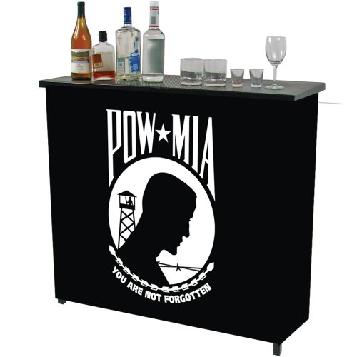 Trademark Pow Metal 2 Shelf Portable Bar Table With Carrying Case front-439532