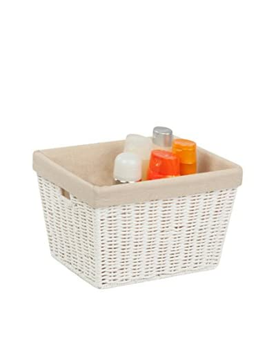 "Honey-Can-Do 10"" Parchment Cord Basket with Liner, White"