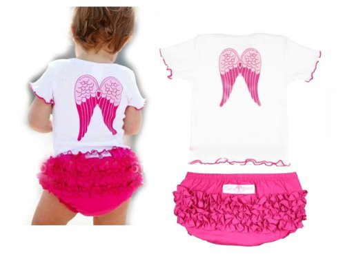 SOPO Cute Baby Girls Angel Wing 2 Pcs Suit Tops + Tutu Shorts Pink 9-24m