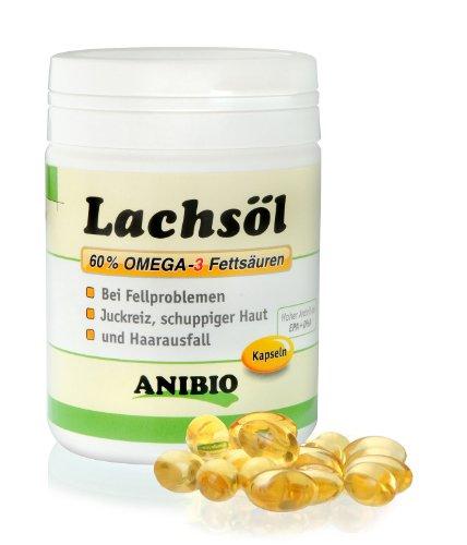 Artikelbild: Anibio Lachsölkapseln 180 Stueck Ergänzungsfutter für Hunde und Katzen, 1er Pack (1 x 0.133 kg)