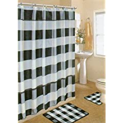 black and white shower curtain set.  1 4pcs Bath Rug Set Black White Checker Bathroom Shower Curtain Mat Rings Curtains And Decor