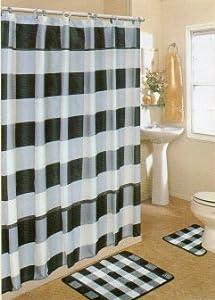 4pcs bath rug set black white checker