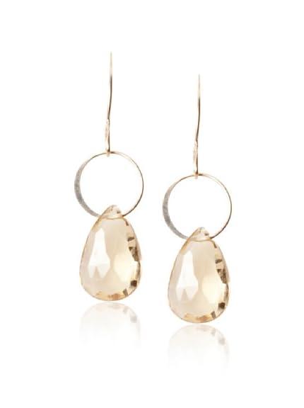Melissa Joy Manning 14K Gold Champagne Quartz Earrings