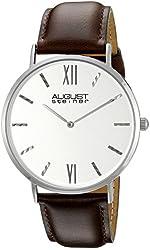 August Steiner Men's AS8166SSBR Round Silver Dial Two Hand Quartz Strap Watch
