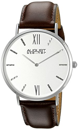 August Steiner Men's Two Hand Quartz Watch with Silver Dial Analogue Display and Brown Leather Strap AS8166SSBR