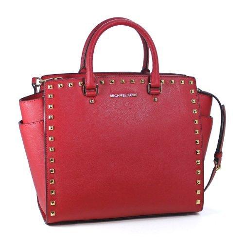 Michael Kors Selma Stud Large North South Tote Red Leather Shoulder Bag