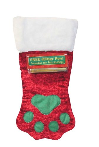 Image Kyjen PP01785 Kyjen Soft & Shiny Paw Stocking for Dogs with Glitter Pen, Large, Mulitcolor