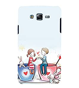 printtech Love Couple Heart Cup Rabbit Back Case Cover for Samsung Galaxy Core i8262 / Samsung Galaxy Core i8260