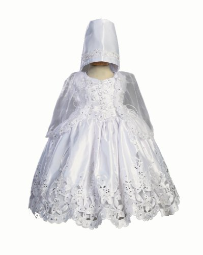 For Sale Embroidered Satin Dress with Cutwork, Silver Sequins & Cape Christening Baptism Special Occasion - Size 3T  Review