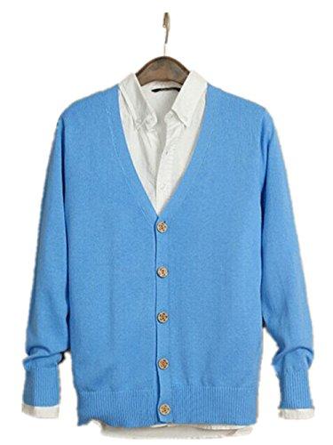 Madhero da uomo scollo a V Solid Color Maglia Button Cardigan Blue Formato cinese XXL(Petto 104cm)