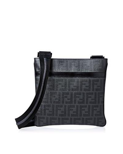 Fendi Men's Zucca Flat Cross-Body, Black/Grey