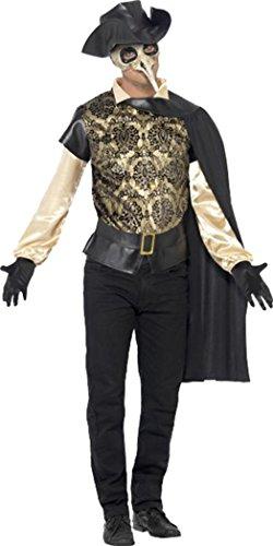 Da uomo costume di Halloween Party Dress Costume Assassin' s Creed medico della peste Outfit Black Petto 97 cm- 102 cm