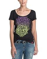 edc by ESPRIT Damen T-Shirt 053CC1K004, Rundhals