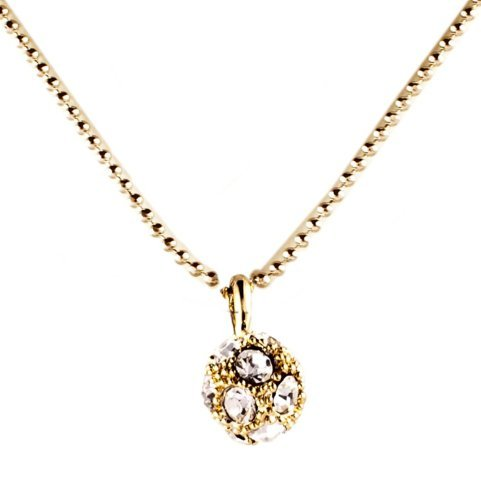 Decorum Jewellery Goldtone Ball Drop Necklace with Cz, contains rodium to avoid allergies and doesn't leave marks.