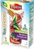 Lipton To Go Stix Iced Green Tea Mix Tea and Honey Blackberry Pomegranate 10 Ct (Pack of 4)