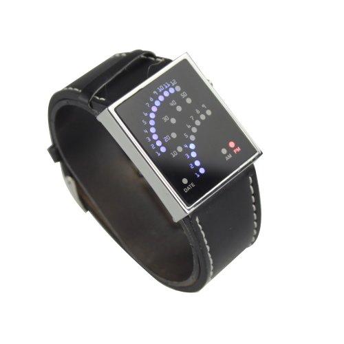 Asmart Center 29 Led Electronic Wristwatch Digital Watch Unusual Design Black Leather Watch