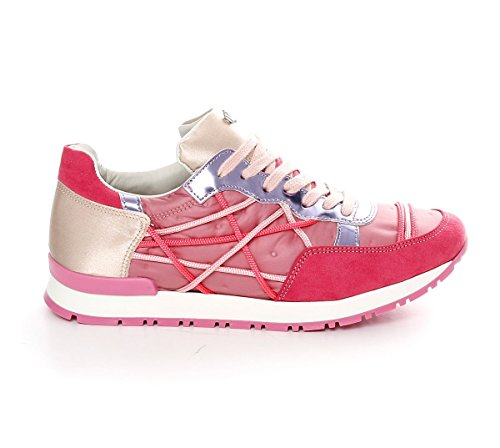 Scarpe Sneakers L4K3 LAKE Donna Mr BIG Ecocamoscio Piumino Raso Rosa (38 EU)