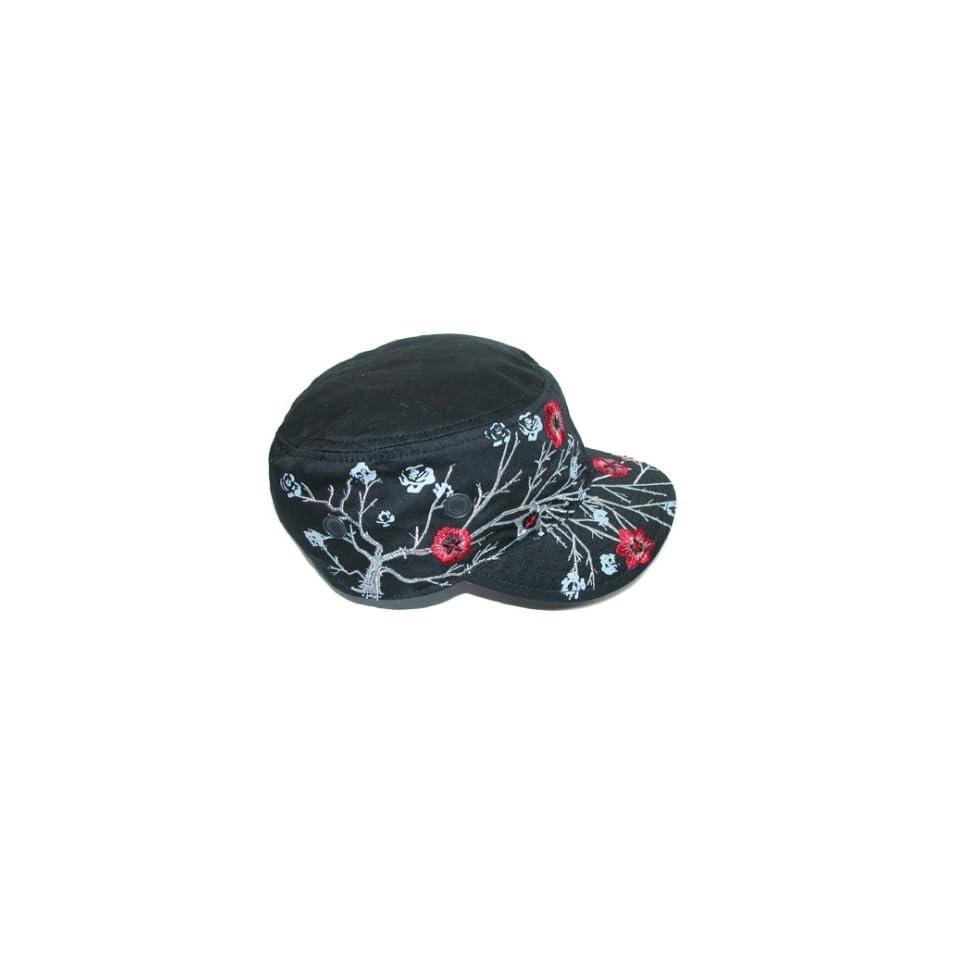 Dorfman Pacific HC143 BLK Fashion Cadet Military Style Hat for Women   Black