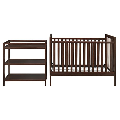 "Dorel Asia The Ryder ""Nursery in A Box"" Convertible 2-in-1 Crib to Daybed with Changing Table Set, Dark Brown"