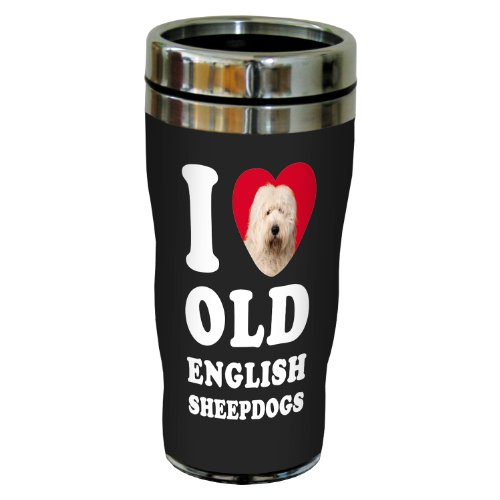 Tree-Free Greetings Sg25093 I Heart Old English Sheepdogs Sip 'N Go Stainless Lined Travel Tumbler, 16-Ounce, White And Grey