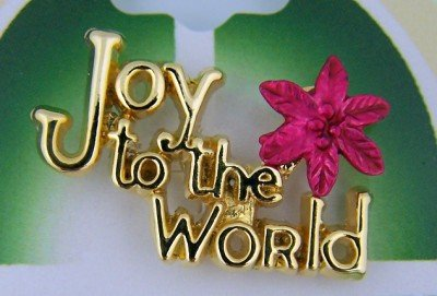 Womens Girls Gold Plate Joy to the World w Red Poinsettia Christmas Lapel Pin