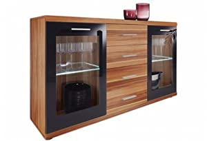 sideboard kommode walnuss schwarz inkl led beleuchtung k che haushalt. Black Bedroom Furniture Sets. Home Design Ideas