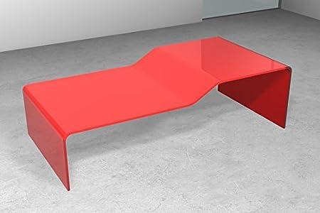 """Tavolino da salotto in vetro moderno """"SCALINO"""" Cm 126 x 60 x h.37 Finitura: Rosso, Art.T27C/05"""