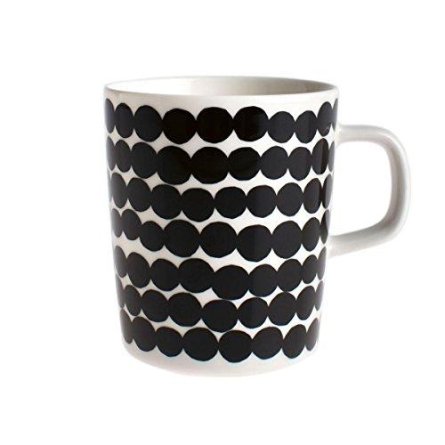 Marimekko Oiva Kaffeetasse/Becher, schwarz-weiß Muster: Siirtolapuutarha 2dl