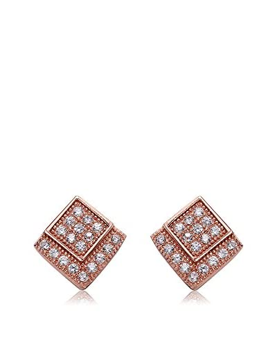 Megan Walford CZ 14K Rose Gold-Plated Double Square Design Earrings
