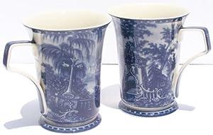 Fine China Mug - Blue Toile - Set of Two Mugs