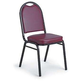 """Kfi Upholstered Stack Chair - 17-1/2 X21x35-1/2"""" - Vinyl Upholstery - Black Frame - Burgundy - Lot of 2"""