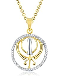 Sukkhi Angelic Gold And Rhodium Plated Cubic Zirconia Stone Studded God Pendant With Chain For Unisex