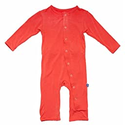 KicKee Pants Neutral Baby Onepiece Solid Coverall - Poppy, Newborn