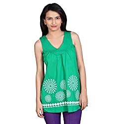 Tantra Florentina Women's Cotton Sleeve Less Top, Green, Medium