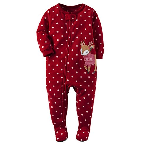 SunWard(TM) Christmas Newborn Infant Baby Girl boy Deer Long Sleeve Romper Jumpsuit Outfits Clothes (18, Red)