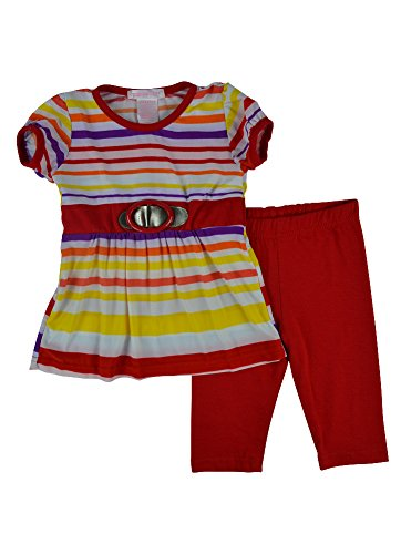 Alfa Global Baby Girl'S Infant Striped Fashion Top And Capri 2 Pcs. Set Red 12 Months front-858228