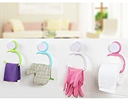 Woogor 1 Pc Wall Attachable Hanger For Rolling Paper,Toilet Roll,Tissue Paper Roll,Towel Hook (Random Color)