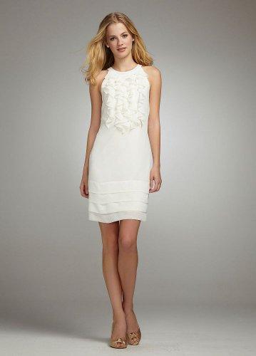 David's Bridal Short Ruffle Chiffon Dress Style 50060, White, 8