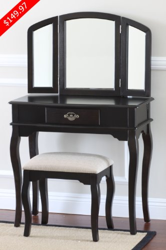 Queen Anne Style Makeup Vanity Set with Stool Espresso Finish