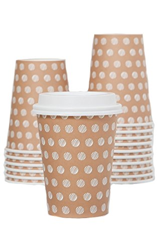 The #1 Most Stylish Disposable Paper Coffee Cups with Lids on Prime - 12oz Insulated Hot Cup To Go - Quantity 100 Cups & 100 Secure Lids - Best Quality Guaranteed - Ideal For Tea, Cappuccino or Latte (Eco Paper Coffee Cups compare prices)