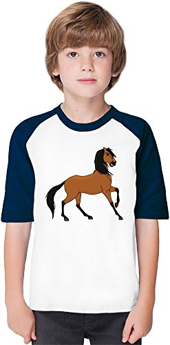 spirit stallion of the cimarron anime Soft Material Baseball Kids T-Shirt by True Fans Apparel - 100% Organic, Hypoallergenic Cotton- Casual & Sports Wear - Unisex for Boys and Girls 3-4 years