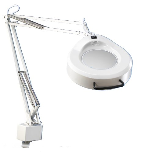 "Luxo 16346Wt Ifm Magnifier, 45"" External Spring Arm, 5-Diopter, Edge Clamp, White"