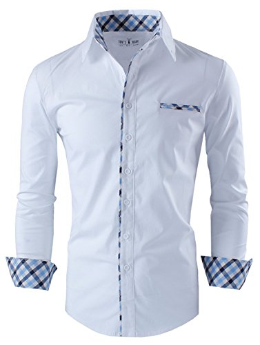 Tom's Ware Mens Premium Casual Inner Layered Dress Shirt TWNMS310S-1-WHITE-L