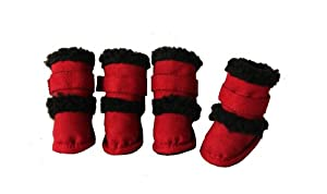 "Pet Life Shearling ""Duggz"" Dog Boots in Red & Black - X-Small"