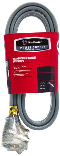 Southwire 56952357 10/3 Srdt 3 Conductor Grounded Dryer Cord, 6-Feet, Gray